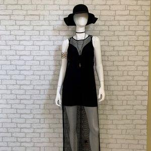 Fishnet black maxi overdress - L/XL